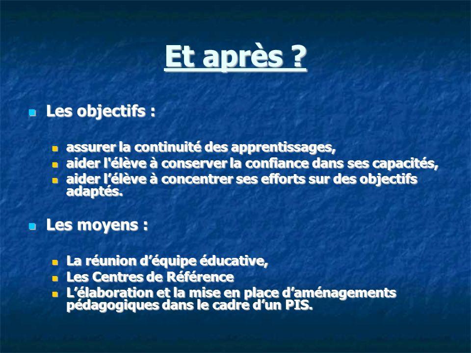 Et après ? Les objectifs : Les objectifs : assurer la continuité des apprentissages, assurer la continuité des apprentissages, aider l'élève à conserv