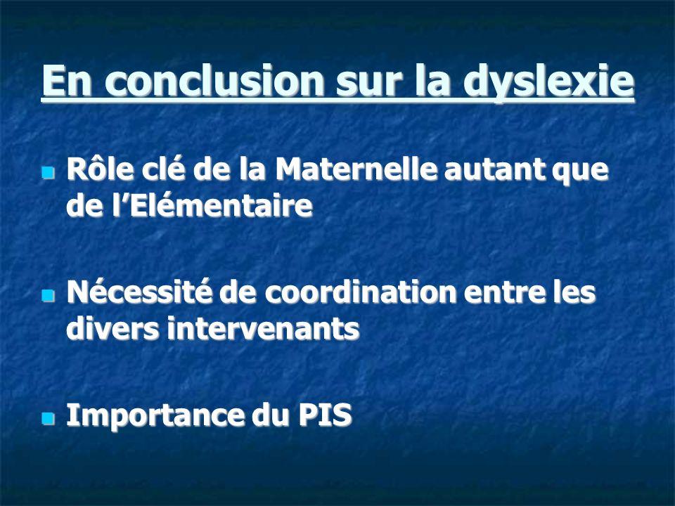 En conclusion sur la dyslexie Rôle clé de la Maternelle autant que de lElémentaire Rôle clé de la Maternelle autant que de lElémentaire Nécessité de c