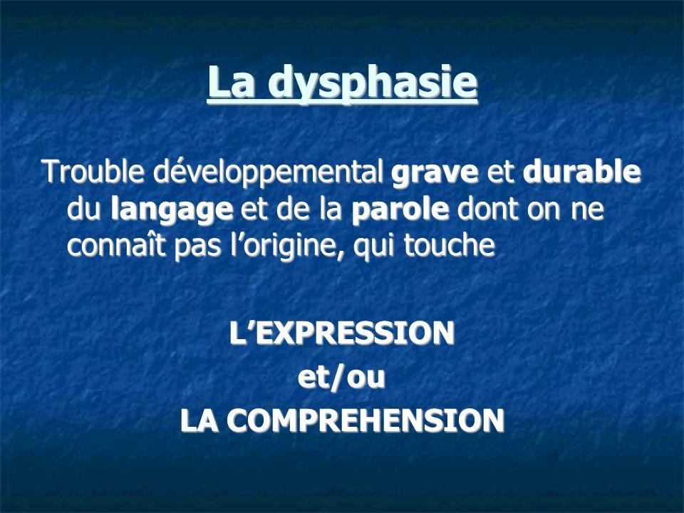 La dysphasie Trouble développemental grave et durable du langage et de la parole dont on ne connaît pas lorigine, qui touche LEXPRESSIONet/ou LA COMPR