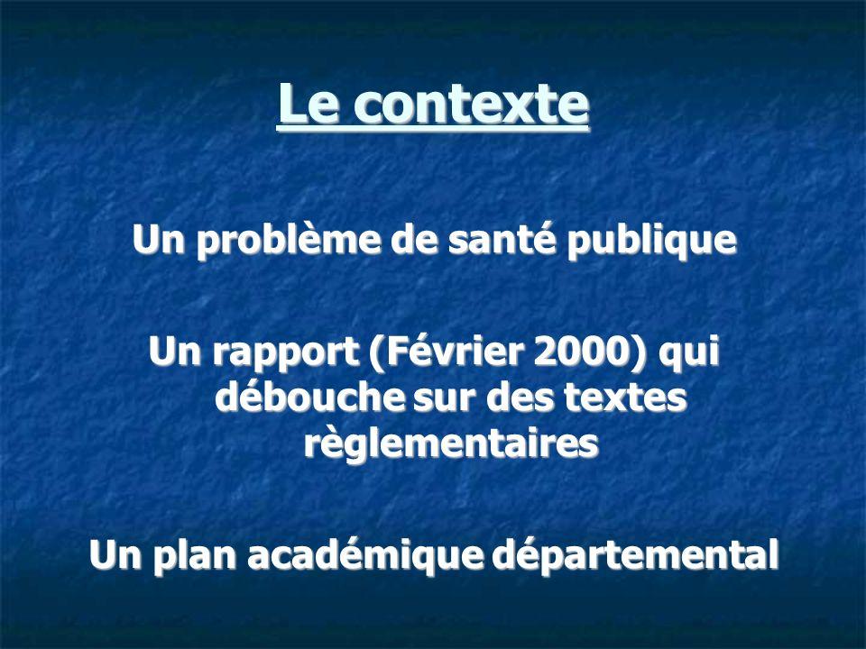 Le contexte Un problème de santé publique Un rapport (Février 2000) qui débouche sur des textes règlementaires Un plan académique départemental