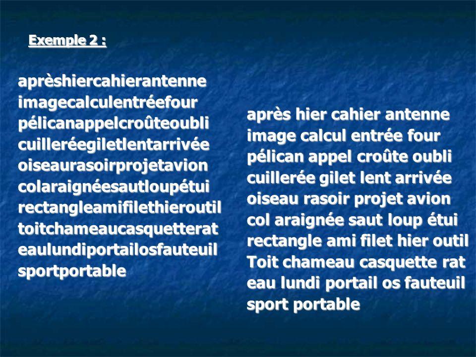 Exemple 2 : aprèshiercahierantenneimagecalculentréefourpélicanappelcroûteoublicuilleréegiletlentarrivéeoiseaurasoirprojetavioncolaraignéesautloupétuir