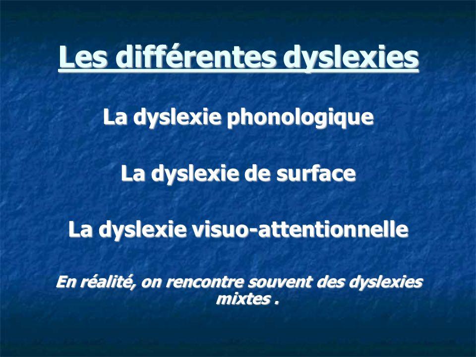 Les différentes dyslexies La dyslexie phonologique La dyslexie de surface La dyslexie visuo-attentionnelle En réalité, on rencontre souvent des dyslex