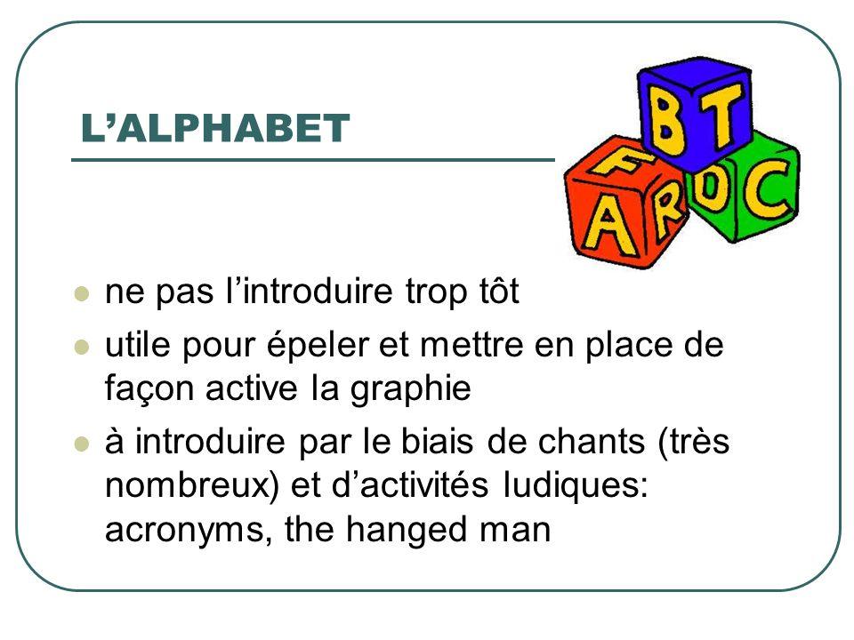 LALPHABET ne pas lintroduire trop tôt utile pour épeler et mettre en place de façon active la graphie à introduire par le biais de chants (très nombre