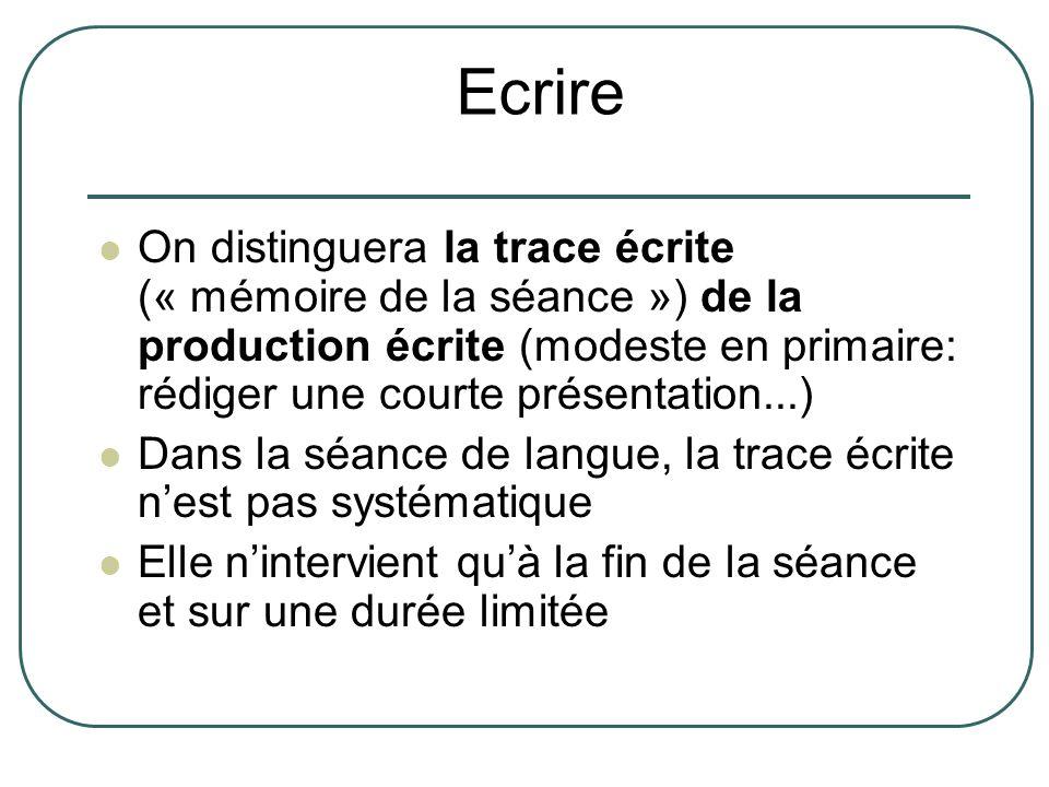 On distinguera la trace écrite (« mémoire de la séance ») de la production écrite (modeste en primaire: rédiger une courte présentation...) Dans la sé