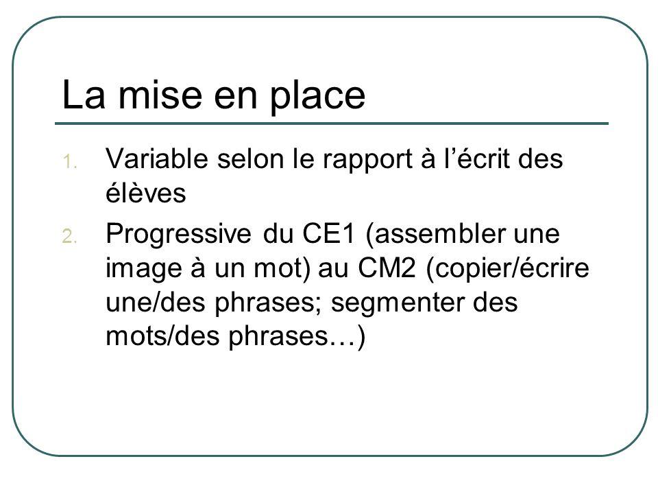 La mise en place 1. Variable selon le rapport à lécrit des élèves 2. Progressive du CE1 (assembler une image à un mot) au CM2 (copier/écrire une/des p