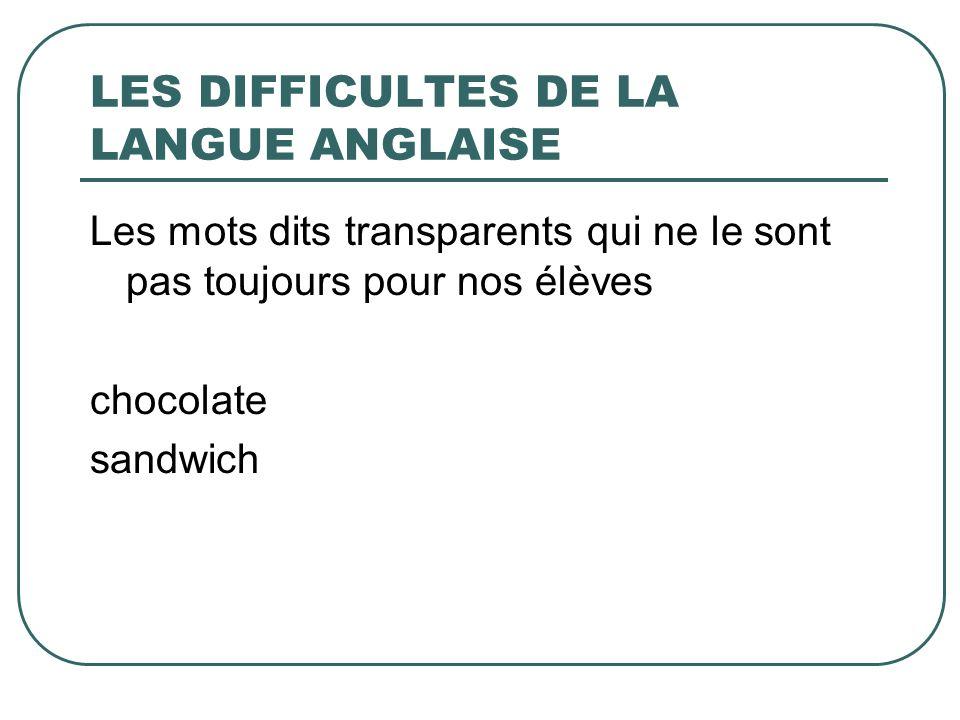 LES DIFFICULTES DE LA LANGUE ANGLAISE Les mots dits transparents qui ne le sont pas toujours pour nos élèves chocolate sandwich