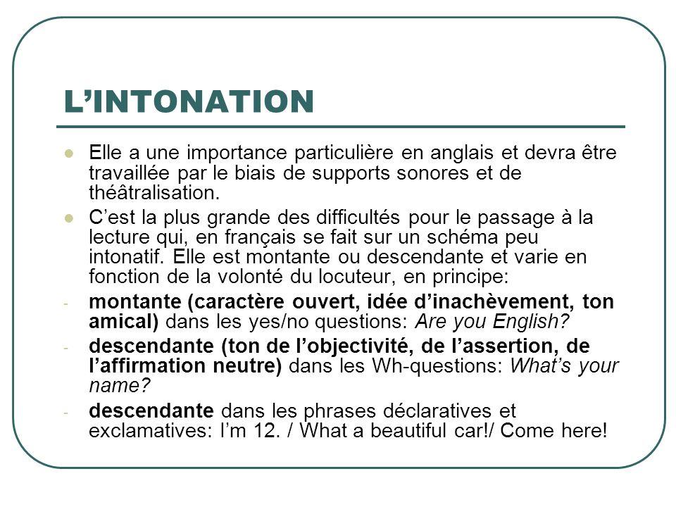 LINTONATION Elle a une importance particulière en anglais et devra être travaillée par le biais de supports sonores et de théâtralisation. Cest la plu