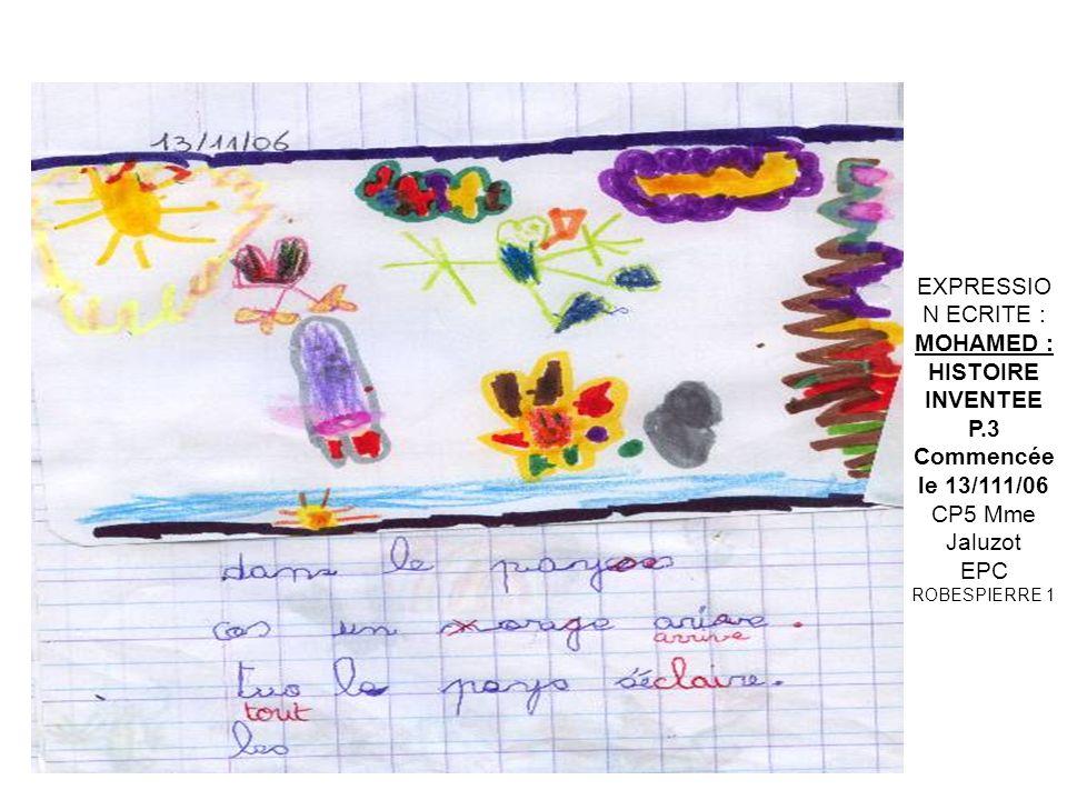 EXPRESSION ECRITE : MARINE: Le 11 sept 2006 Et le 12 sept 2006 CP5 Mme Jaluzot EPC ROBESPIERRE 1