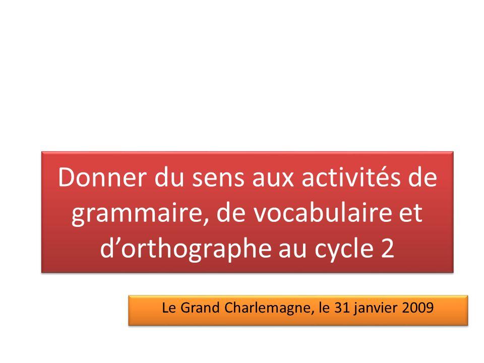Objectifs de cette animation Faire le point sur le sens et les enjeux de lenseignement de la grammaire, du vocabulaire et de lorthographe au cycle 2.