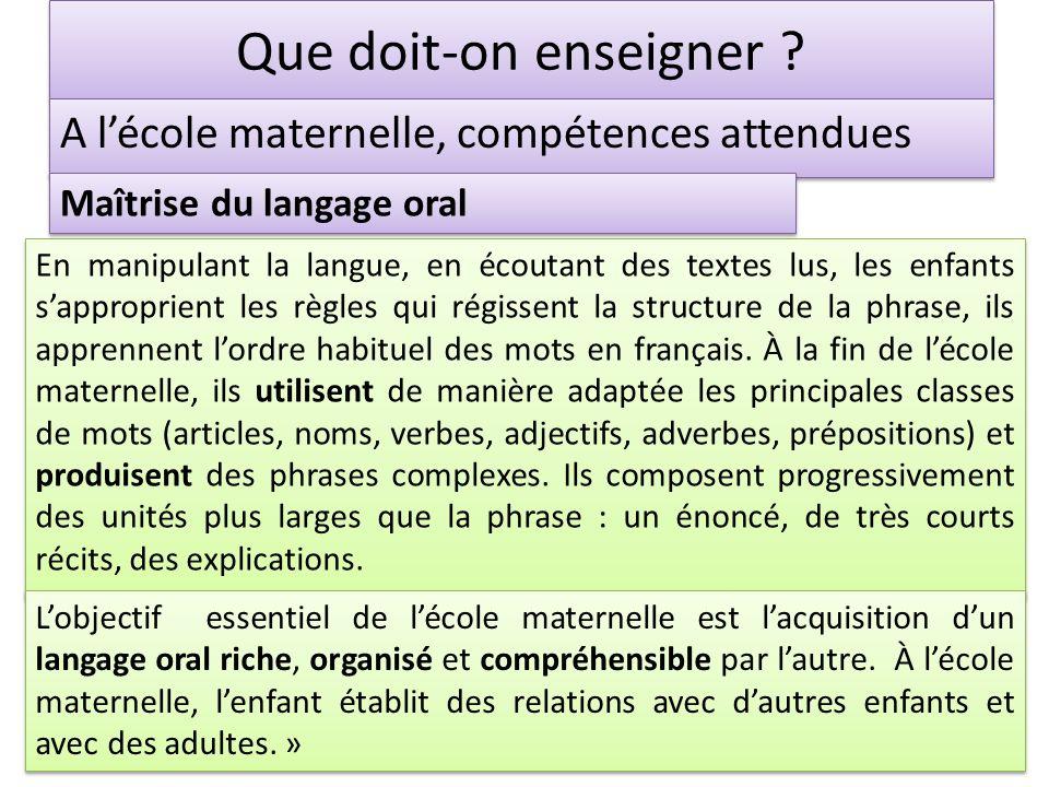 Que doit-on enseigner ? A lécole maternelle, compétences attendues En manipulant la langue, en écoutant des textes lus, les enfants sapproprient les r