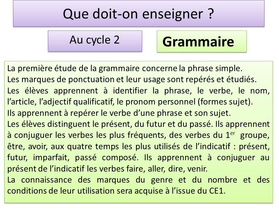 Que doit-on enseigner ? Au cycle 2 Grammaire La première étude de la grammaire concerne la phrase simple. Les marques de ponctuation et leur usage son
