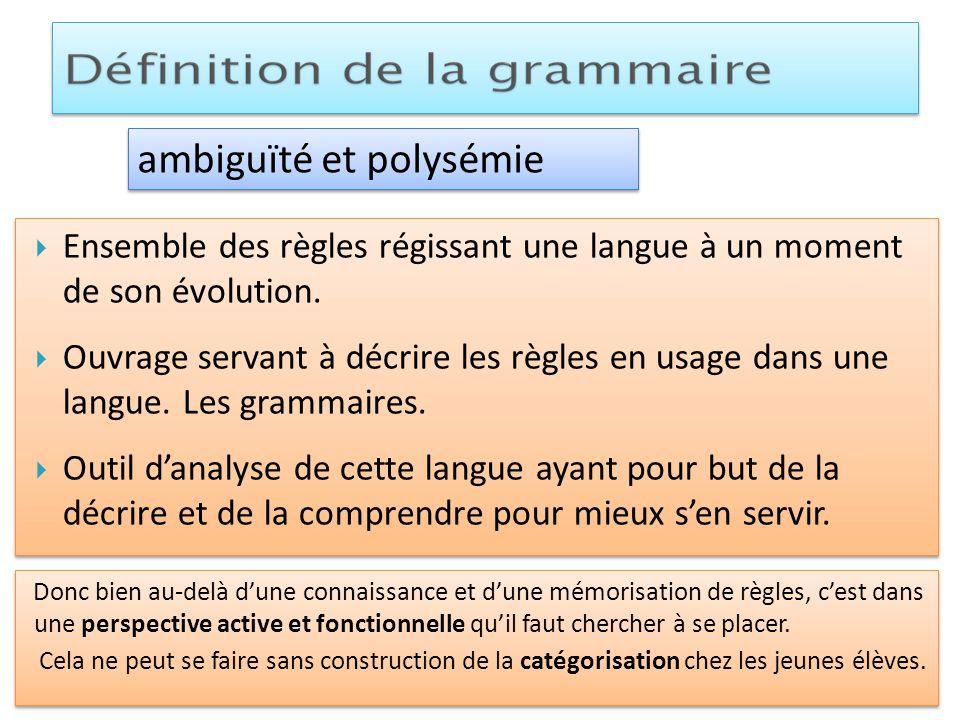 Ensemble des règles régissant une langue à un moment de son évolution. Ouvrage servant à décrire les règles en usage dans une langue. Les grammaires.