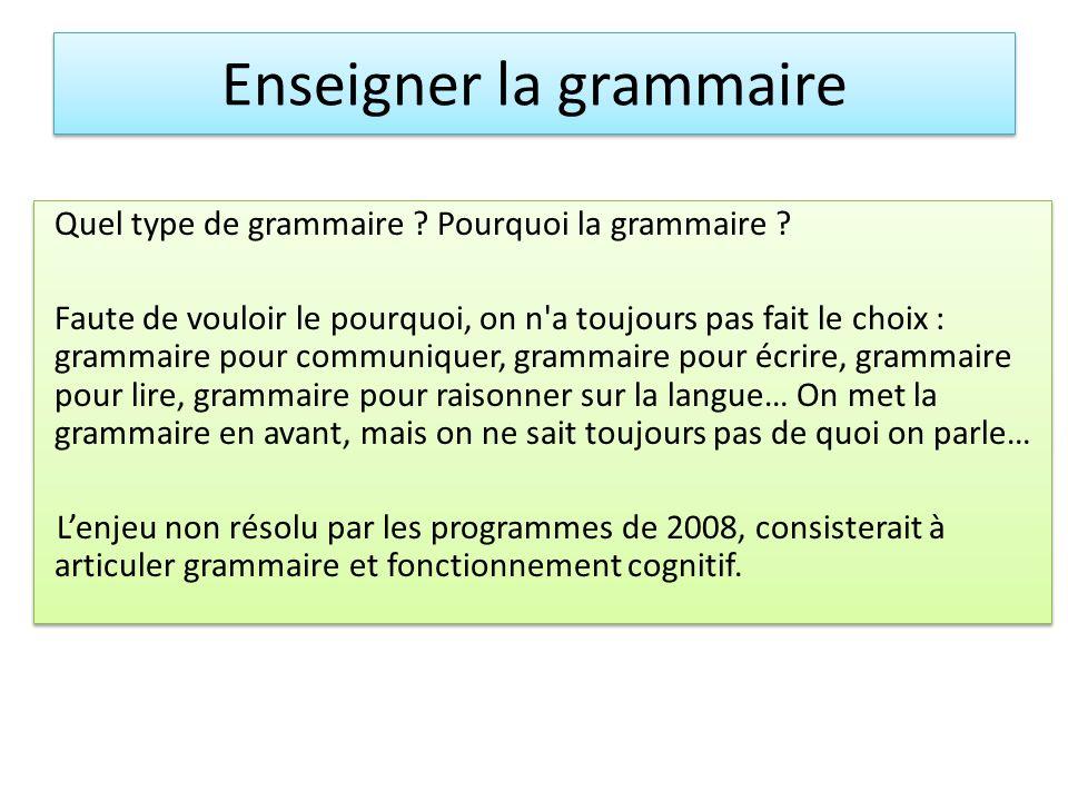 Quel type de grammaire ? Pourquoi la grammaire ? Faute de vouloir le pourquoi, on n'a toujours pas fait le choix : grammaire pour communiquer, grammai