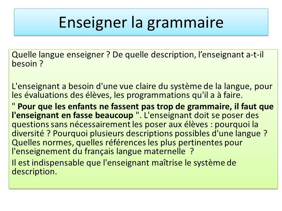 Quelle langue enseigner ? De quelle description, lenseignant a-t-il besoin ? L'enseignant a besoin d'une vue claire du système de la langue, pour les