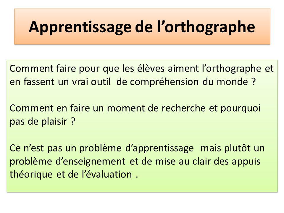 Apprentissage de lorthographe Comment faire pour que les élèves aiment lorthographe et en fassent un vrai outil de compréhension du monde ? Comment en