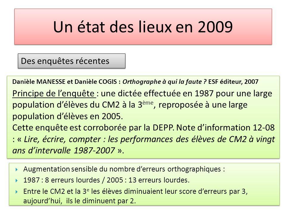 Un état des lieux en 2009 Des enquêtes récentes Danièle MANESSE et Danièle COGIS : Orthographe à qui la faute ? ESF éditeur, 2007 Principe de lenquête