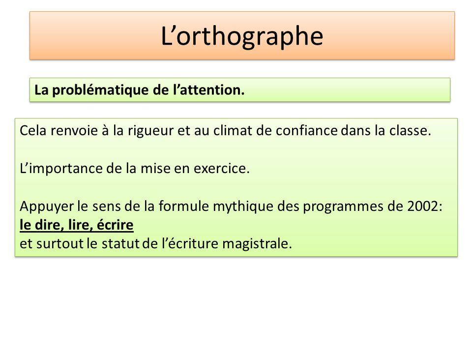 Lorthographe La problématique de lattention. Cela renvoie à la rigueur et au climat de confiance dans la classe. Limportance de la mise en exercice. A