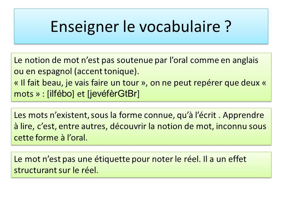 Enseigner le vocabulaire ? Le notion de mot nest pas soutenue par loral comme en anglais ou en espagnol (accent tonique). « Il fait beau, je vais fair