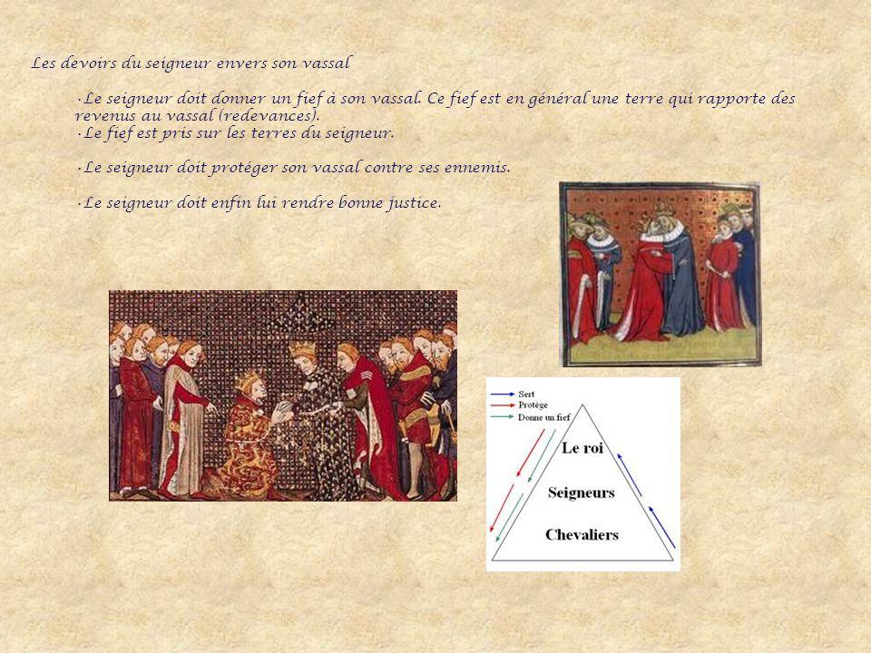 Les devoirs du seigneur envers son vassal Le seigneur doit donner un fief à son vassal.