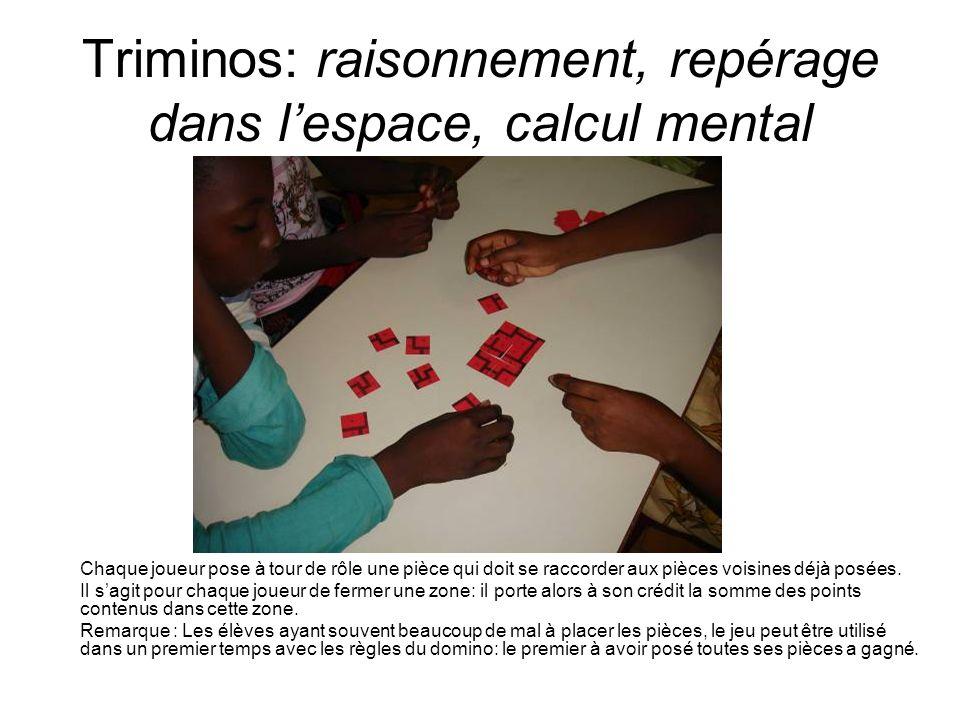 Triminos: raisonnement, repérage dans lespace, calcul mental Chaque joueur pose à tour de rôle une pièce qui doit se raccorder aux pièces voisines déj