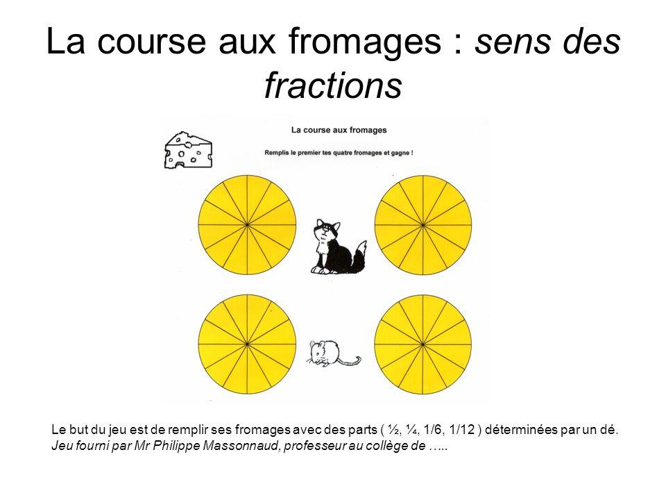 La course aux fromages : sens des fractions Le but du jeu est de remplir ses fromages avec des parts ( ½, ¼, 1/6, 1/12 ) déterminées par un dé. Jeu fo