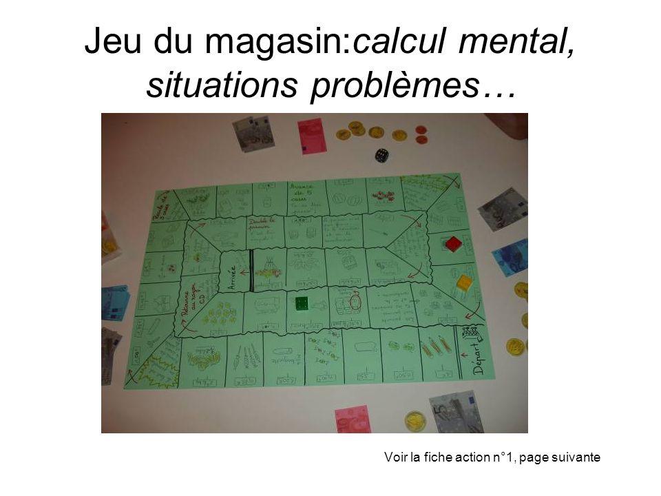 Jeu du magasin:calcul mental, situations problèmes… Voir la fiche action n°1, page suivante