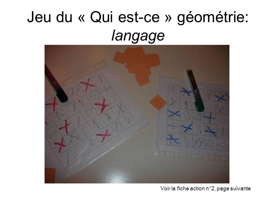 Jeu du « Qui est-ce » géométrie: langage Voir la fiche action n°2, page suivante
