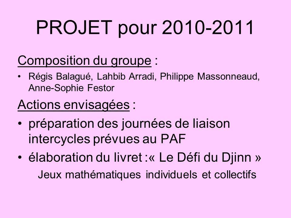 PROJET pour 2010-2011 Composition du groupe : Régis Balagué, Lahbib Arradi, Philippe Massonneaud, Anne-Sophie Festor Actions envisagées : préparation