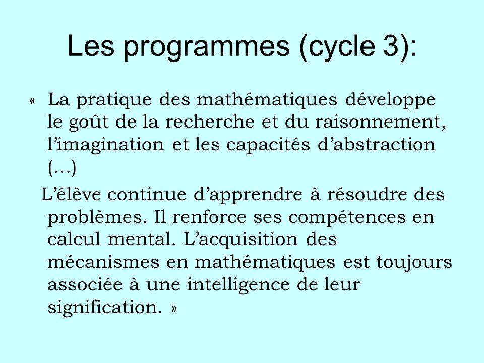 Les programmes (cycle 3): « La pratique des mathématiques développe le goût de la recherche et du raisonnement, limagination et les capacités dabstrac