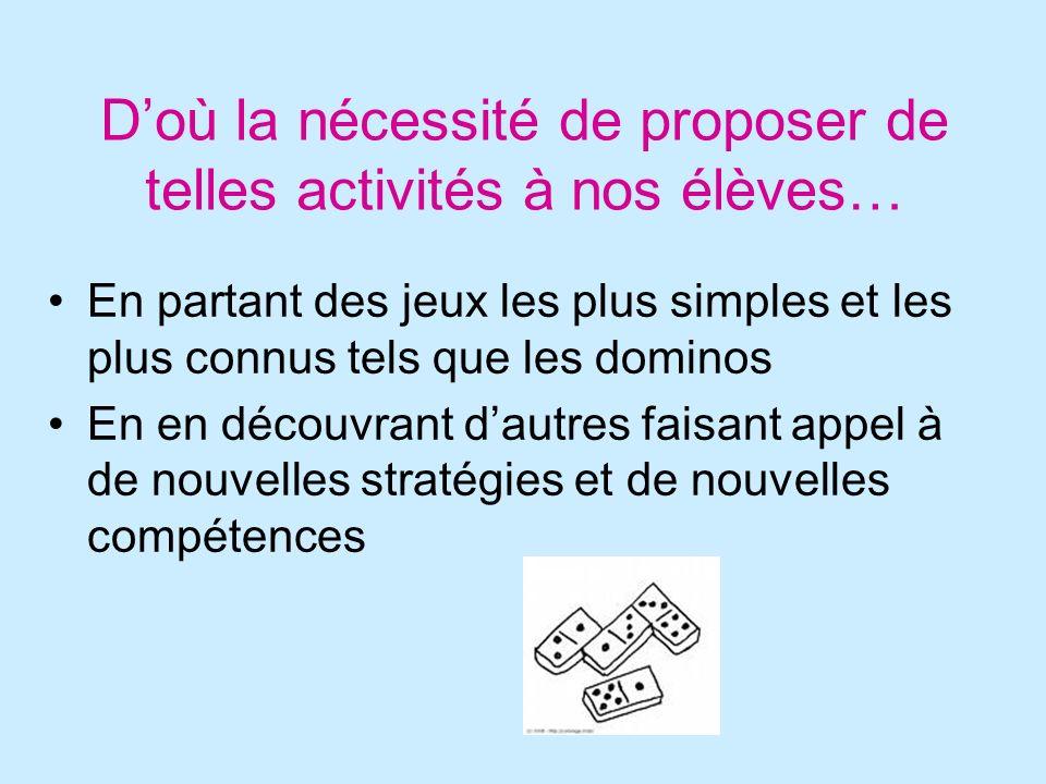 Doù la nécessité de proposer de telles activités à nos élèves… En partant des jeux les plus simples et les plus connus tels que les dominos En en déco