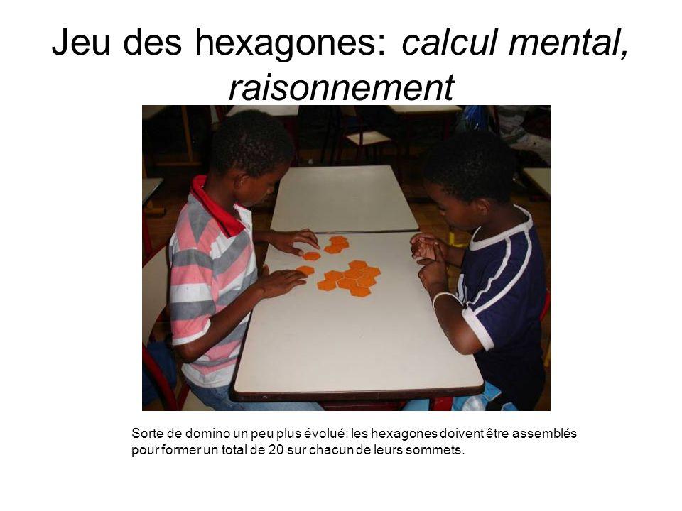 Jeu des hexagones: calcul mental, raisonnement Sorte de domino un peu plus évolué: les hexagones doivent être assemblés pour former un total de 20 sur