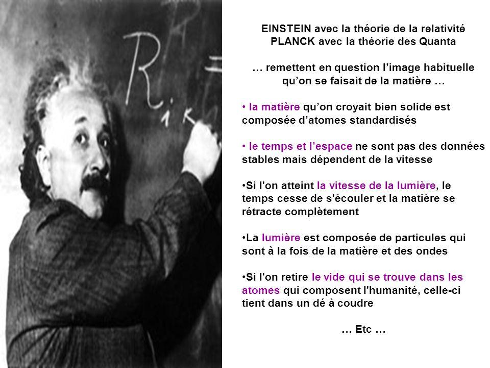 EINSTEIN avec la théorie de la relativité PLANCK avec la théorie des Quanta … remettent en question limage habituelle quon se faisait de la matière …