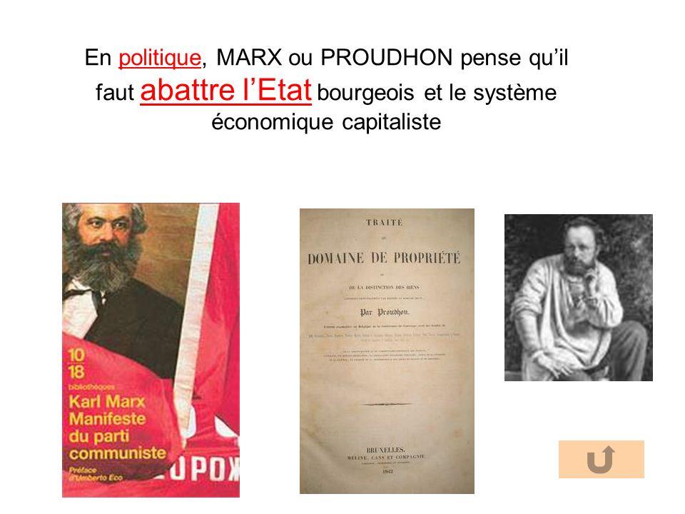 En politique, MARX ou PROUDHON pense quil faut abattre lEtat bourgeois et le système économique capitaliste