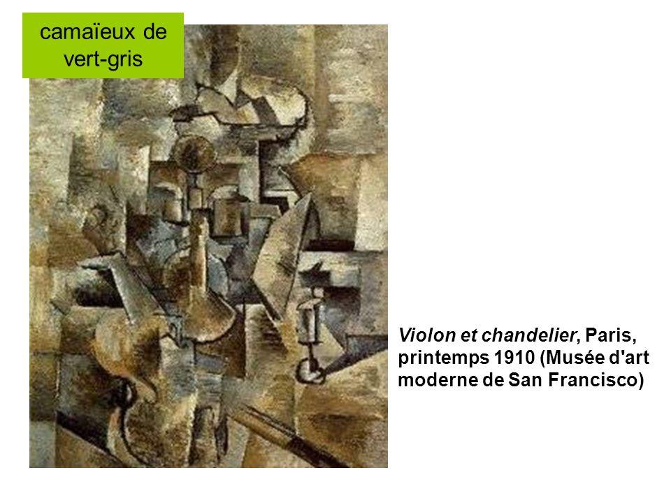 Violon et chandelier, Paris, printemps 1910 (Musée d'art moderne de San Francisco) camaïeux de vert-gris