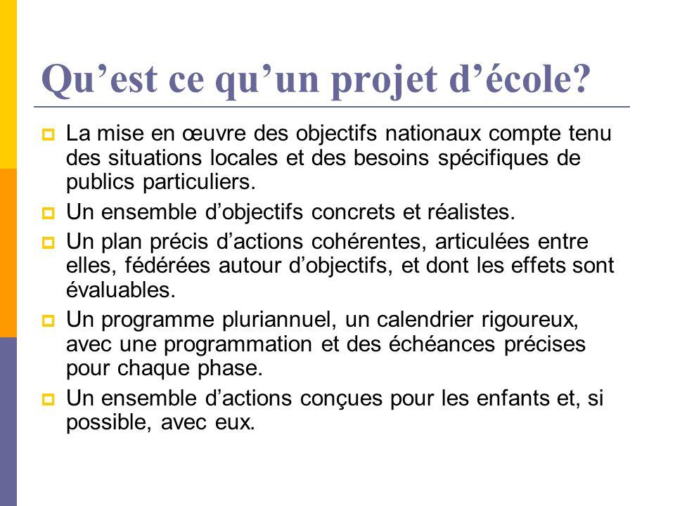 Quest ce quun projet décole? La mise en œuvre des objectifs nationaux compte tenu des situations locales et des besoins spécifiques de publics particu