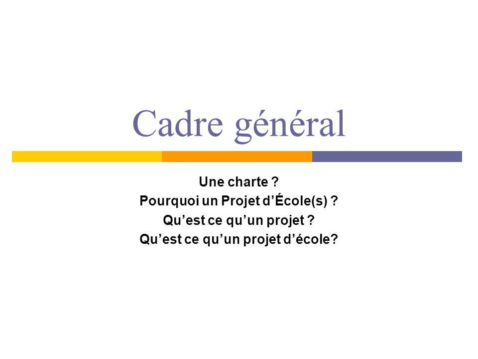 Cadre général Une charte ? Pourquoi un Projet dÉcole(s) ? Quest ce quun projet ? Quest ce quun projet décole?