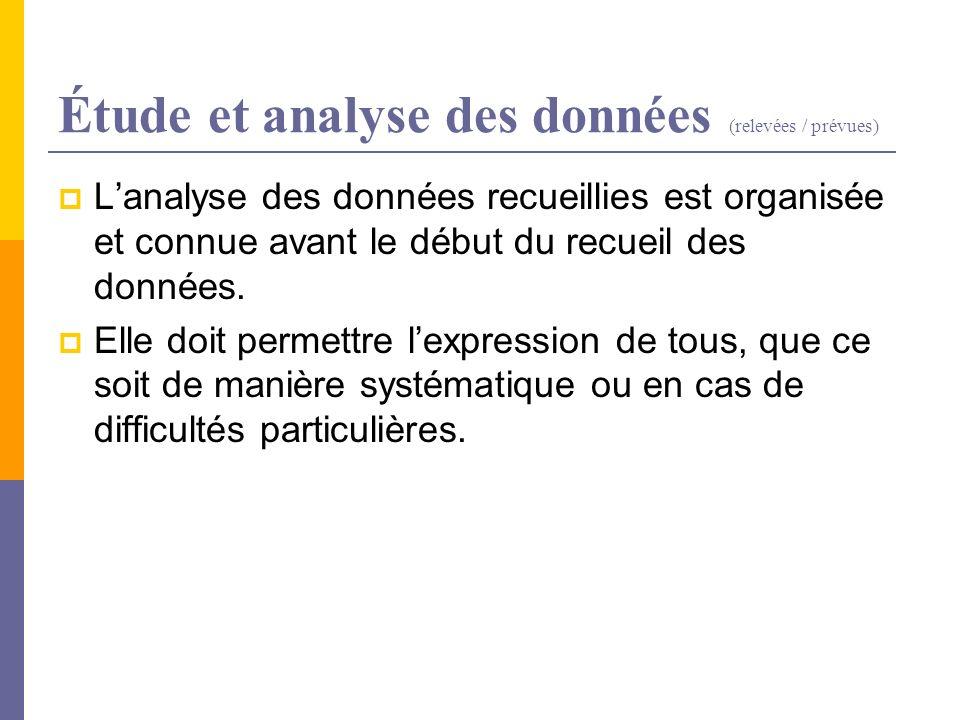 Étude et analyse des données (relevées / prévues) Lanalyse des données recueillies est organisée et connue avant le début du recueil des données. Elle
