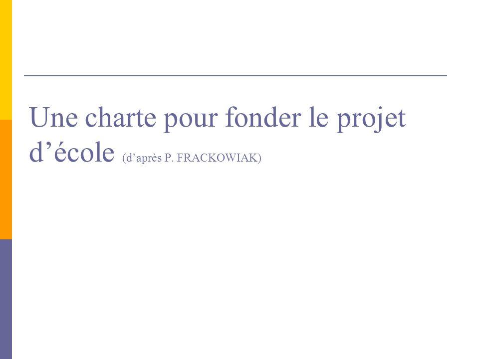 Une charte pour fonder le projet décole (daprès P. FRACKOWIAK)