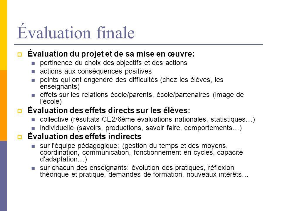 Évaluation finale Évaluation du projet et de sa mise en œuvre: pertinence du choix des objectifs et des actions actions aux conséquences positives poi