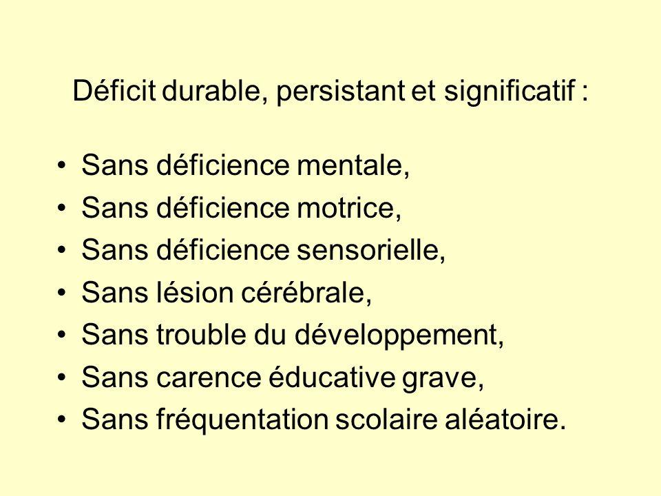 Déficit durable, persistant et significatif : Sans déficience mentale, Sans déficience motrice, Sans déficience sensorielle, Sans lésion cérébrale, Sa