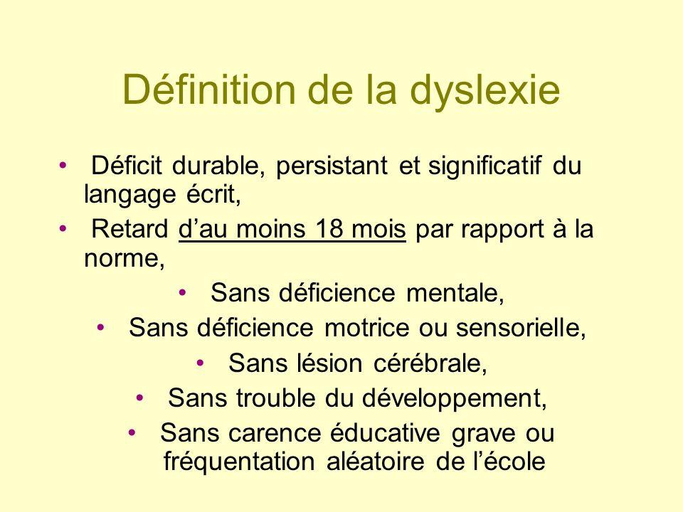 Définition de la dyslexie Déficit durable, persistant et significatif du langage écrit, Retard dau moins 18 mois par rapport à la norme, Sans déficien