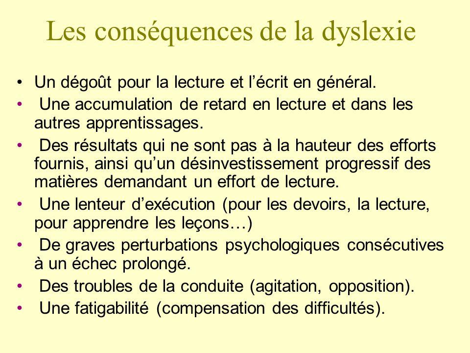 Les conséquences de la dyslexie Un dégoût pour la lecture et lécrit en général. Une accumulation de retard en lecture et dans les autres apprentissage