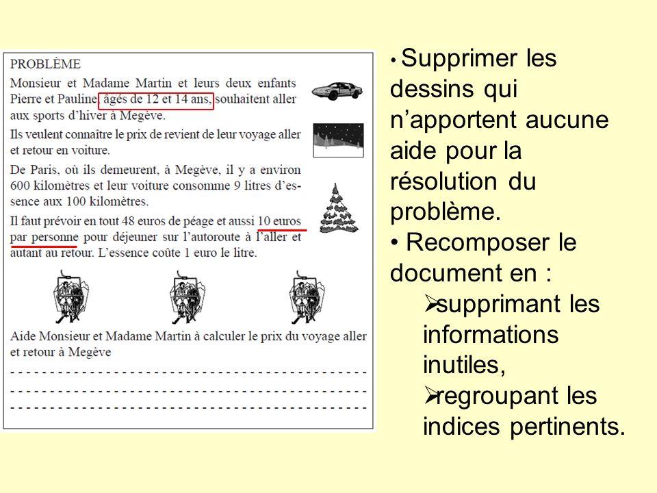 Supprimer les dessins qui napportent aucune aide pour la résolution du problème. Recomposer le document en : supprimant les informations inutiles, reg