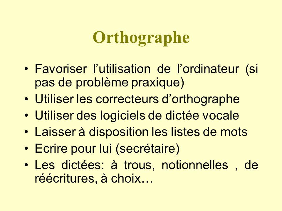 Orthographe Favoriser lutilisation de lordinateur (si pas de problème praxique) Utiliser les correcteurs dorthographe Utiliser des logiciels de dictée