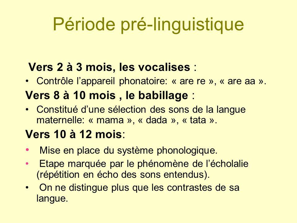 Période pré-linguistique Vers 2 à 3 mois, les vocalises : Contrôle lappareil phonatoire: « are re », « are aa ». Vers 8 à 10 mois, le babillage : Cons