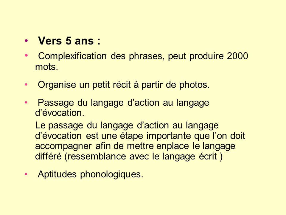 Vers 5 ans : Complexification des phrases, peut produire 2000 mots. Organise un petit récit à partir de photos. Passage du langage daction au langage