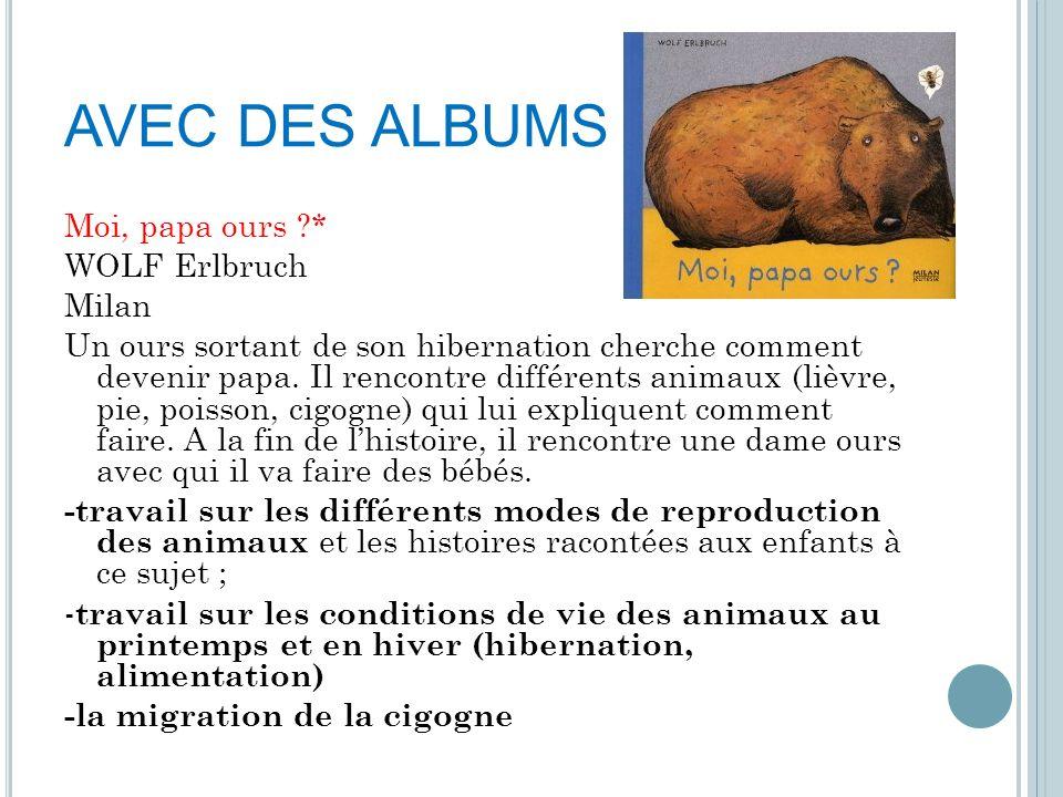 AVEC DES ALBUMS Moi, papa ours ?* WOLF Erlbruch Milan Un ours sortant de son hibernation cherche comment devenir papa. Il rencontre différents animaux