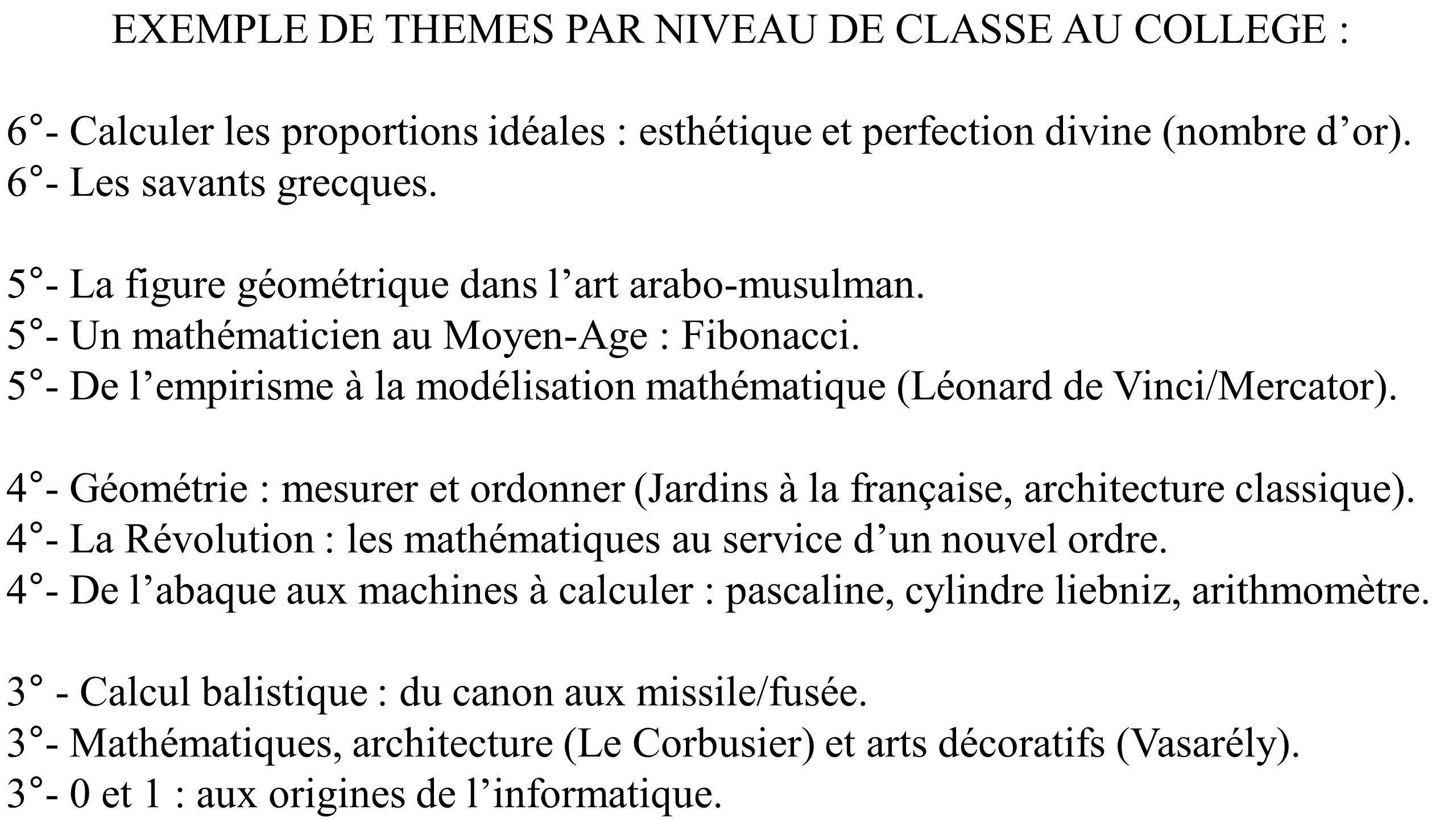 EXEMPLE DE THEMES PAR NIVEAU DE CLASSE AU COLLEGE : 6°- Calculer les proportions idéales : esthétique et perfection divine (nombre dor). 6°- Les savan