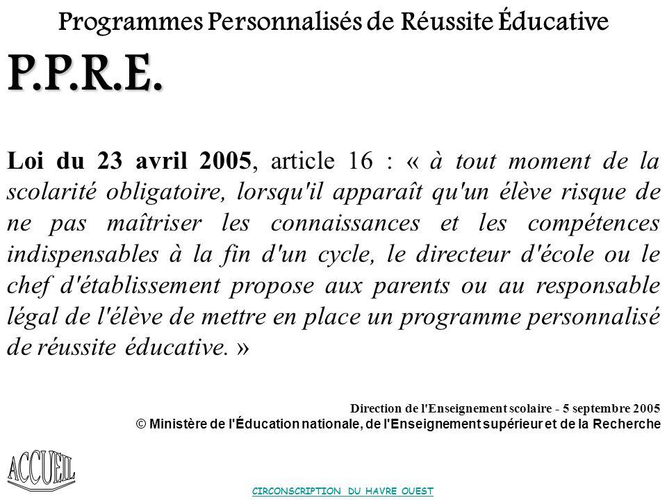 Programmes Personnalisés de Réussite Educative P.P.R.E.