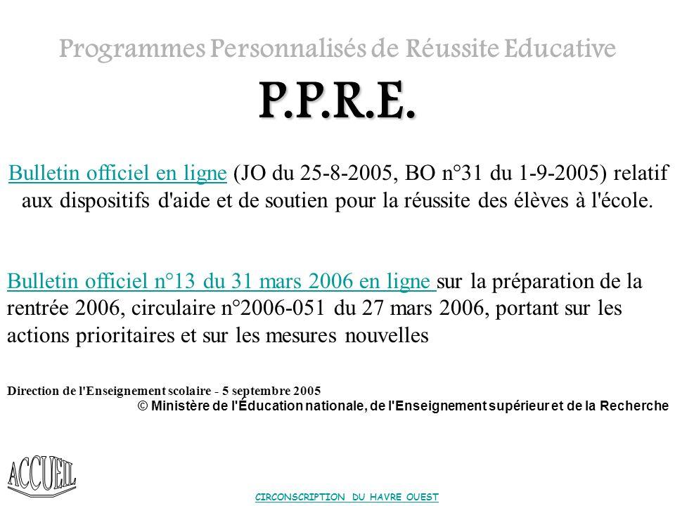 Redoublement = PPRE* Les PPRE ne sont prévus quau cours de la scolarité en élémentaire.